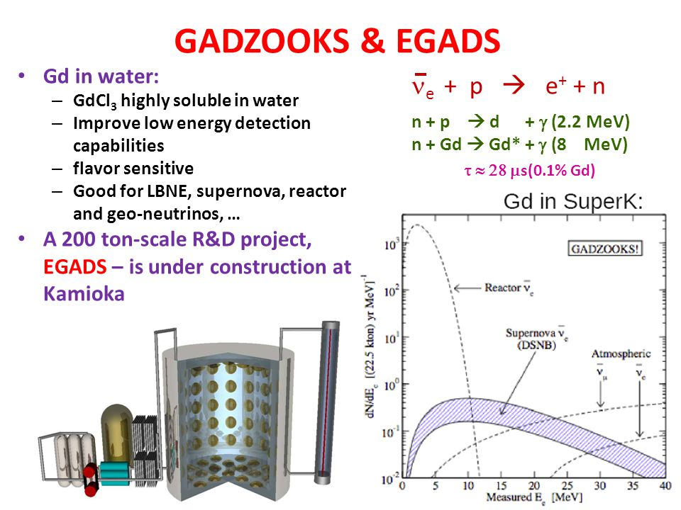 GADZOOKS & EGADS ne + p  e+ + n Gd in water: