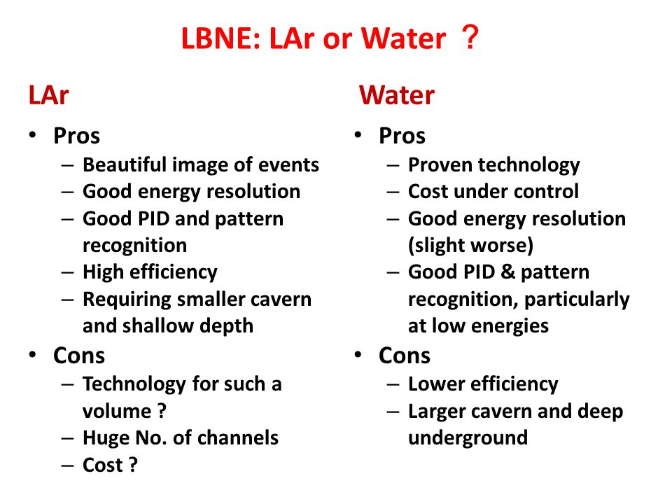 LBNE: LAr or Water ? LAr Water Pros Cons Pros Cons