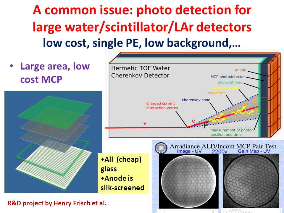 A common issue: photo detection for large water/scintillator/LAr detectors low cost, single PE, low background,…