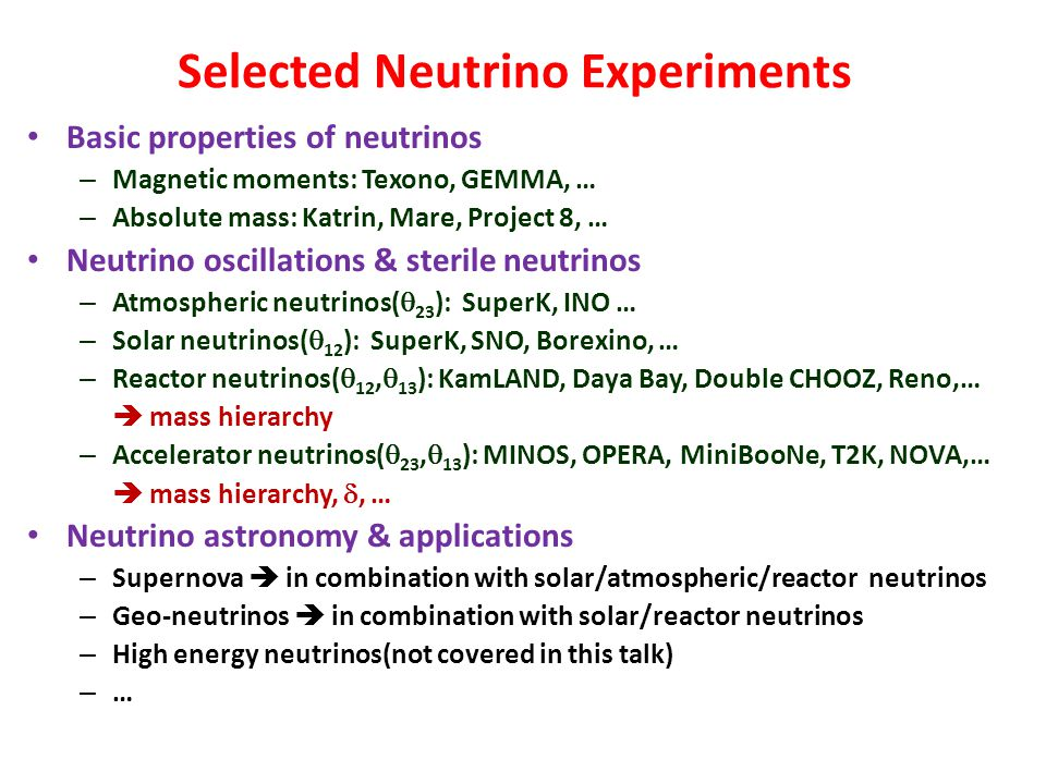 Selected Neutrino Experiments