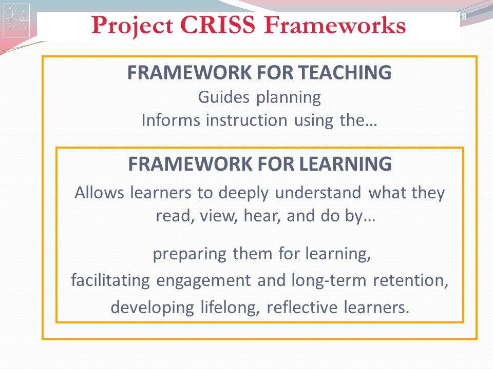 Project CRISS Frameworks FRAMEWORK FOR TEACHING FRAMEWORK FOR LEARNING
