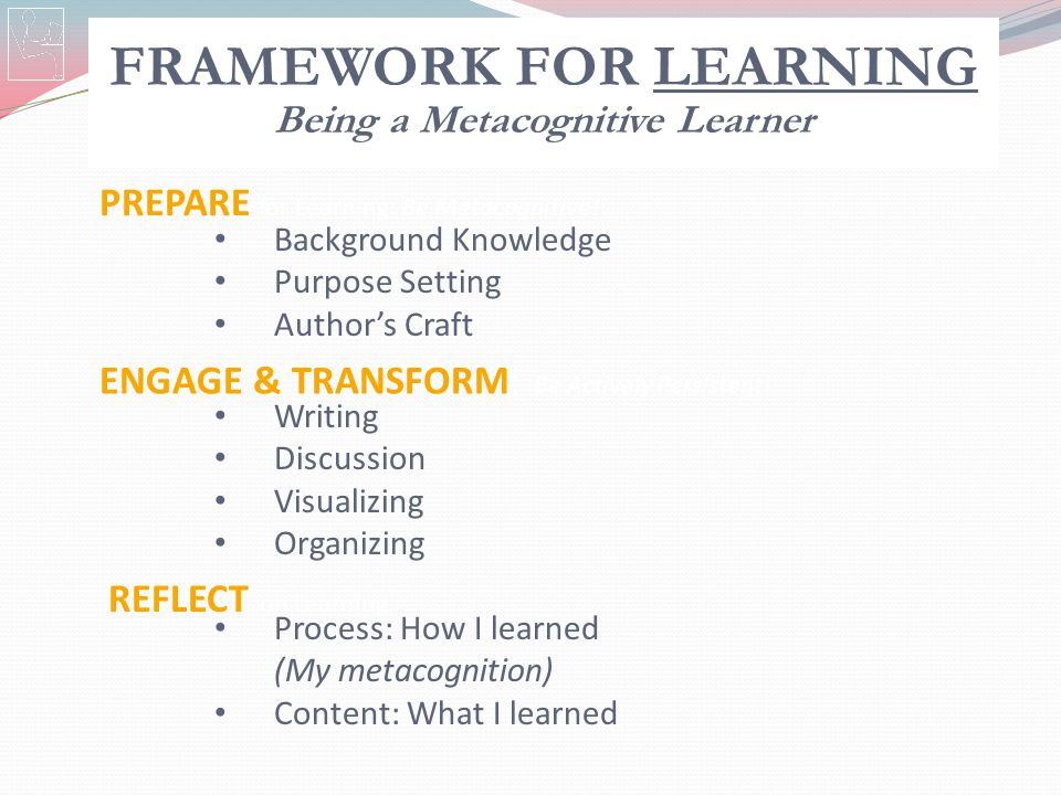 FRAMEWORK FOR LEARNING Being a Metacognitive Learner