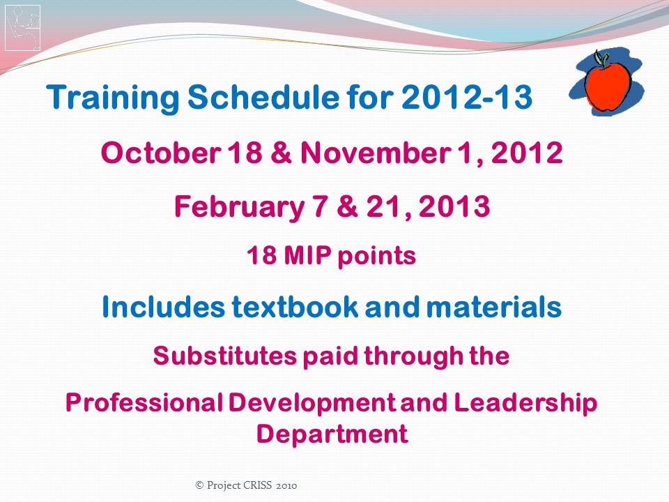 Training Schedule for 2012-13