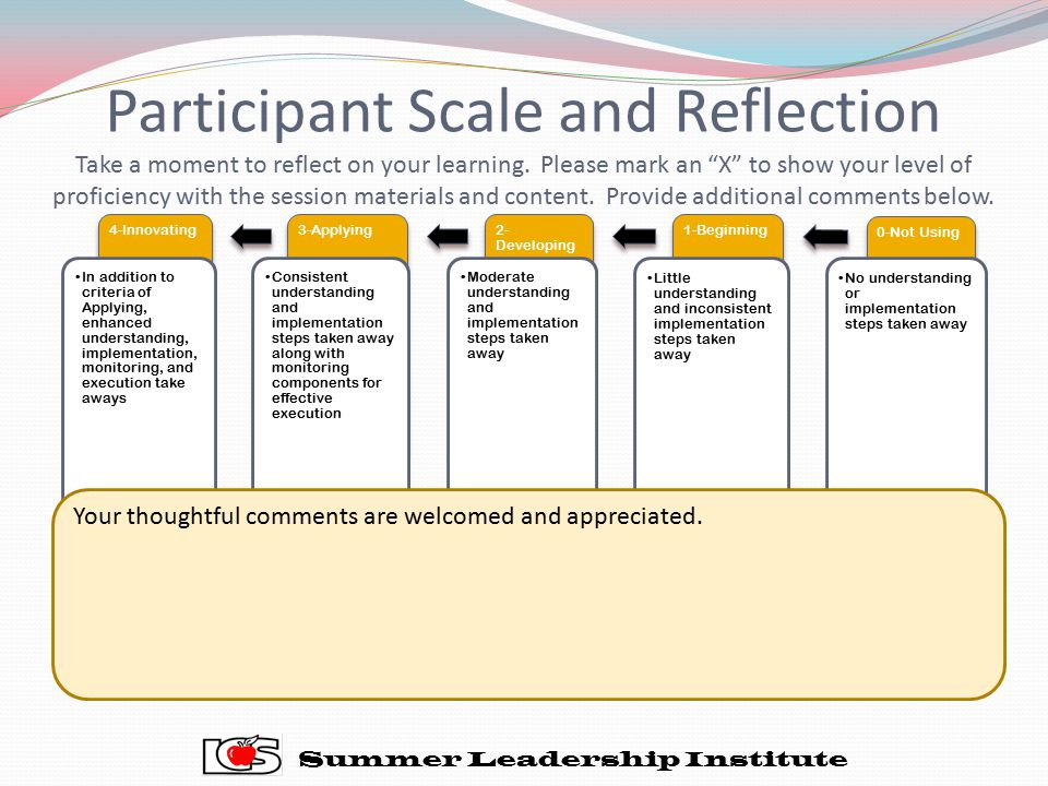 Participant Scale and Reflection Take a moment to reflect on your learning. Please mark an X to show your level of proficiency with the session materials and content. Provide additional comments below.