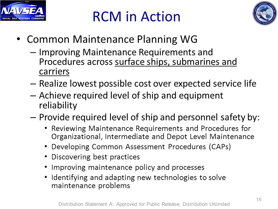 RCM in Action Common Maintenance Planning WG