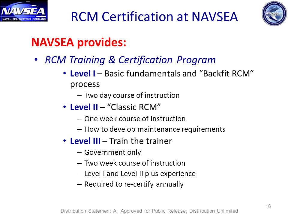 RCM Certification at NAVSEA