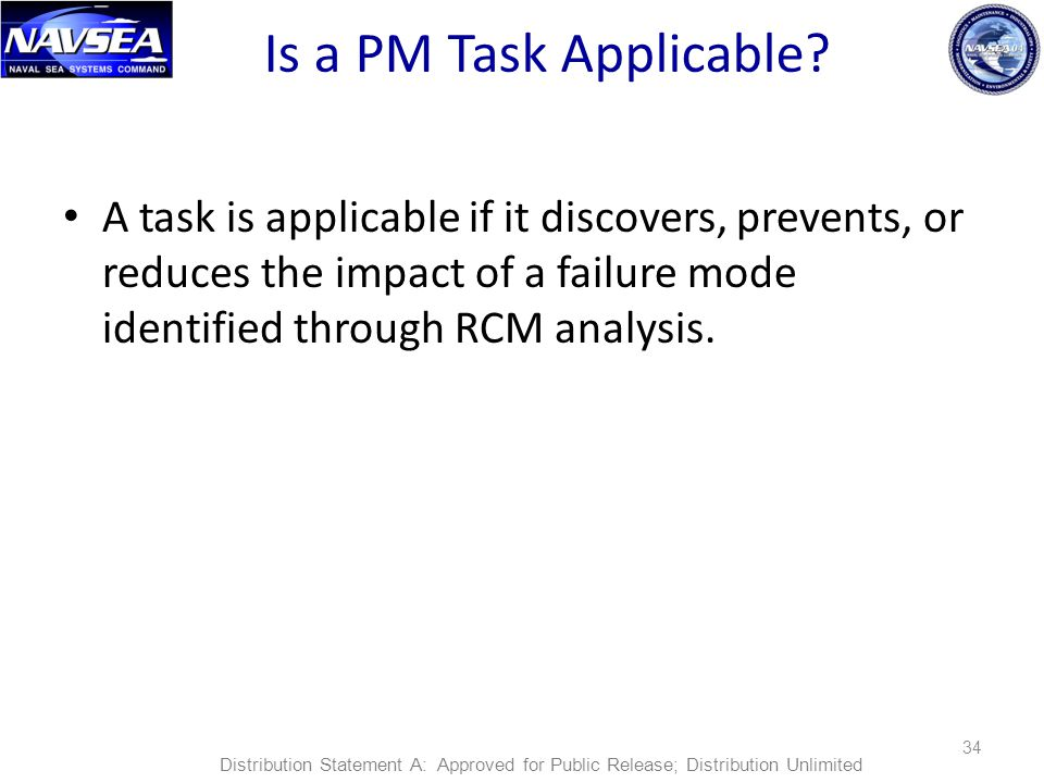 Is a PM Task Applicable A task is applicable if it discovers, prevents, or reduces the impact of a failure mode identified through RCM analysis.