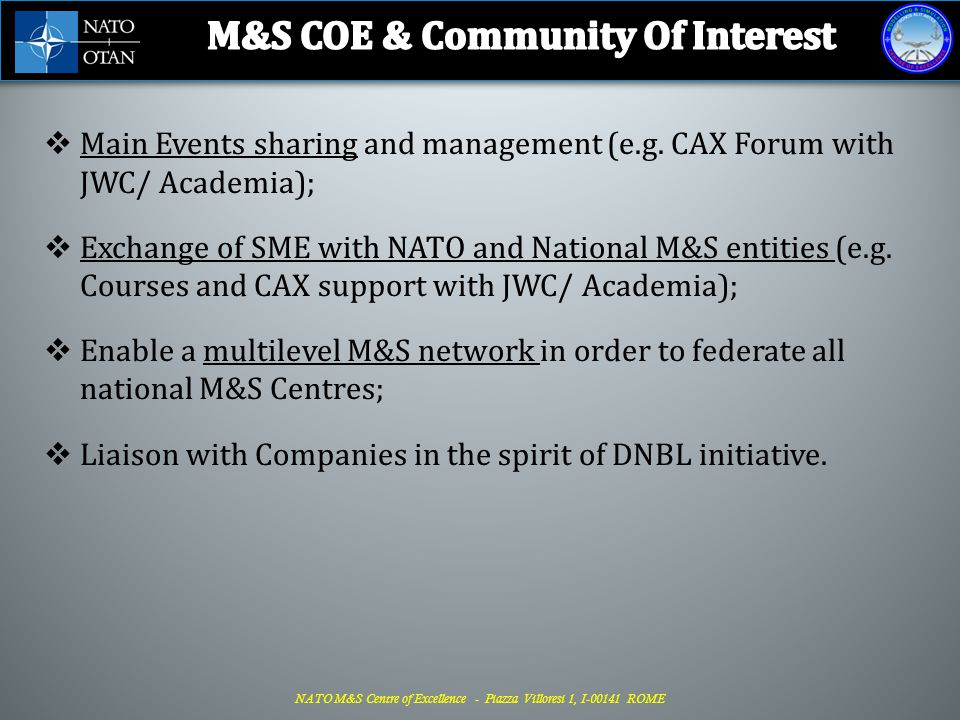 M&S COE & Community Of Interest