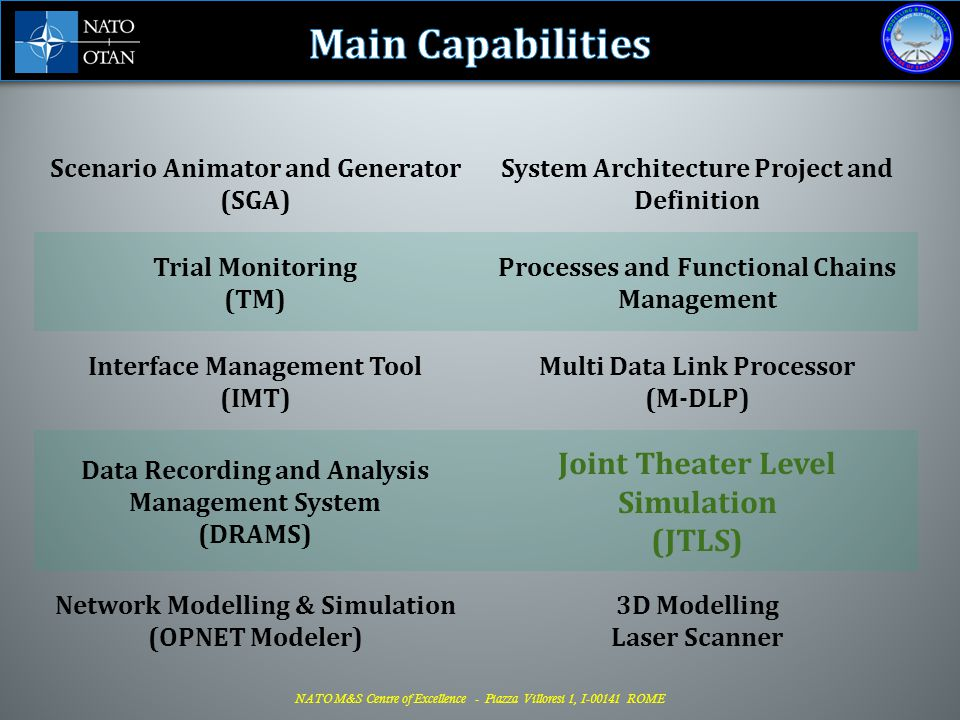 Main Capabilities Joint Theater Level Simulation (JTLS)
