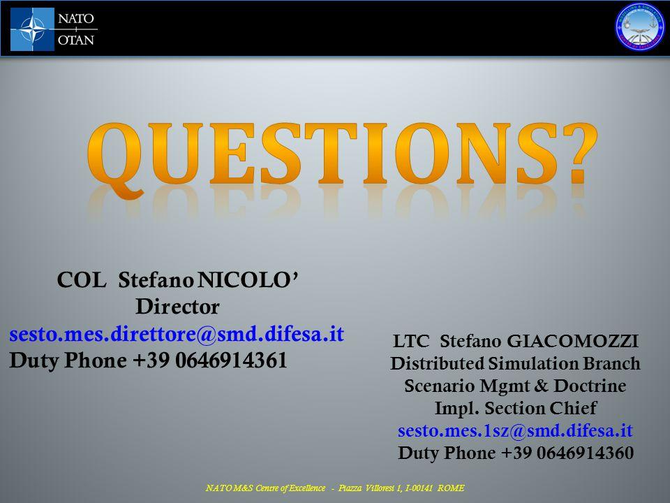 QUESTIONS COL Stefano NICOLO' Director