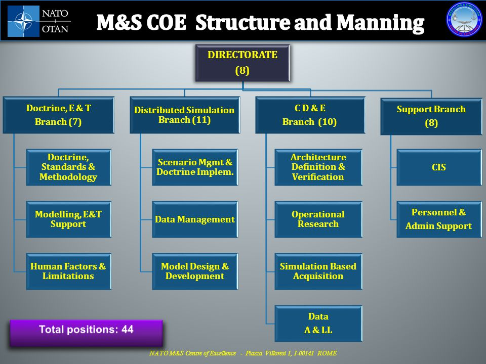 M&S COE Structure and Manning