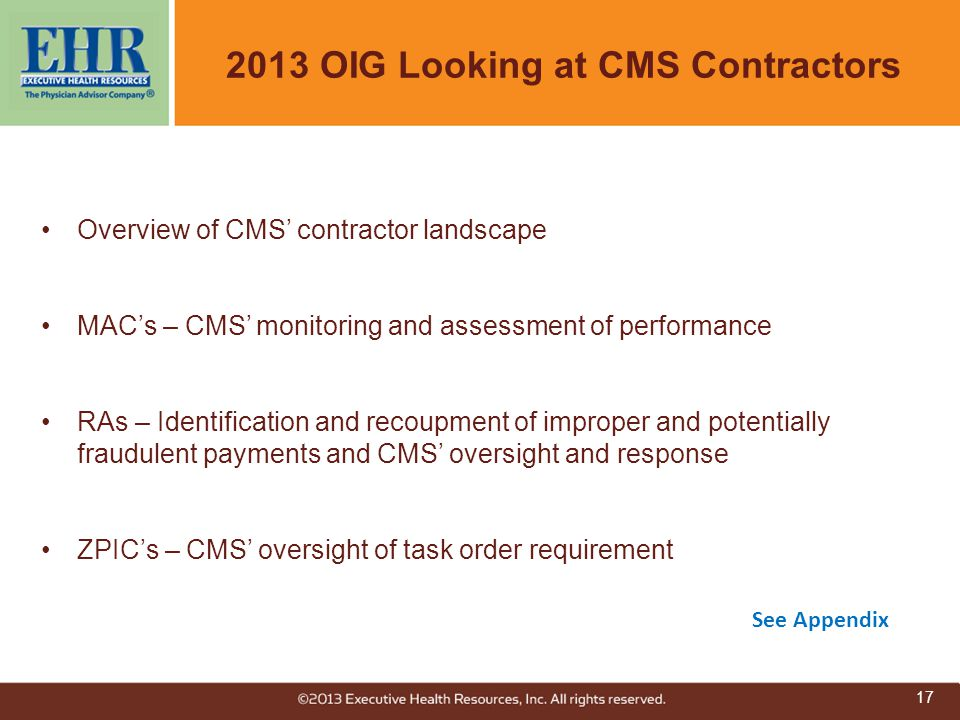 2013 OIG Looking at CMS Contractors