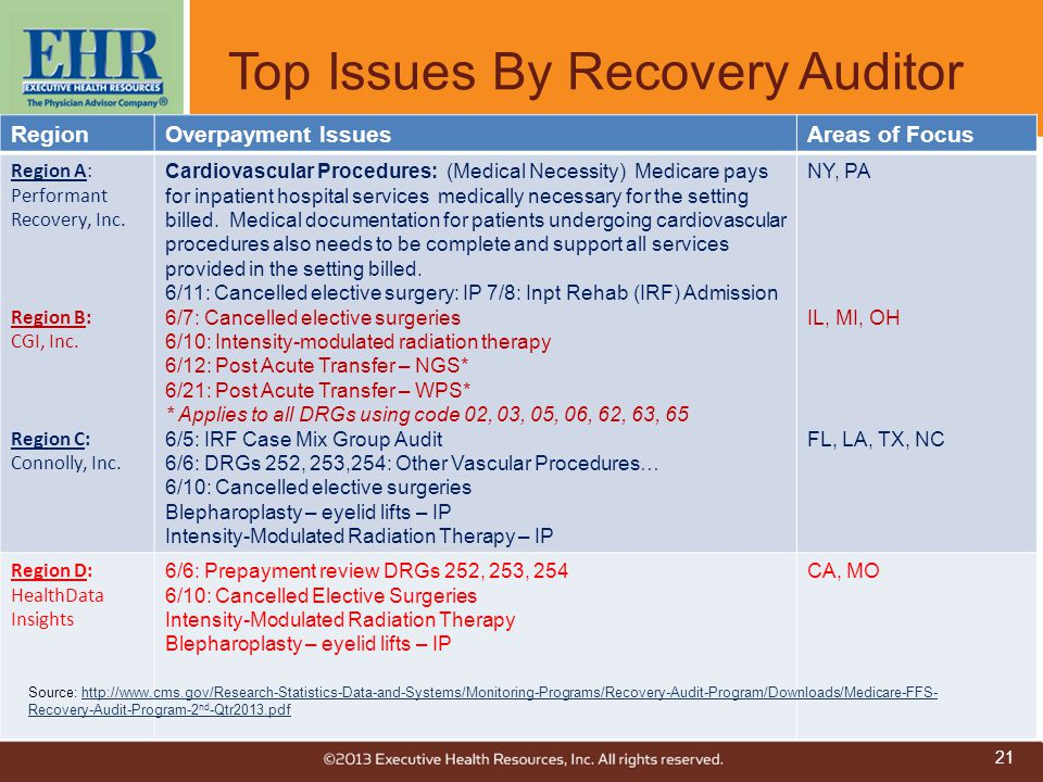 Top Issues By Recovery Auditor