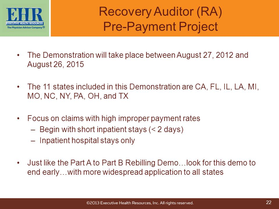 Recovery Auditor (RA) Pre-Payment Project