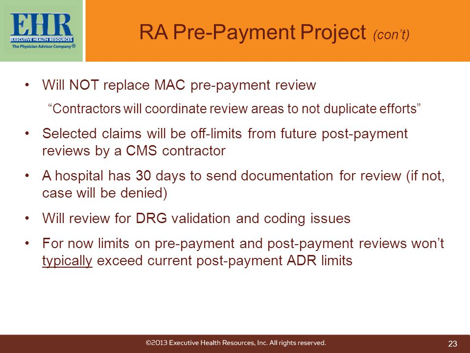 RA Pre-Payment Project (con't)