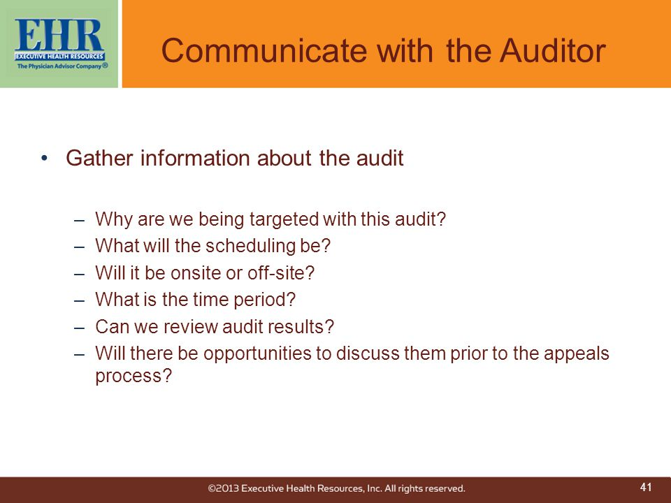 Communicate with the Auditor