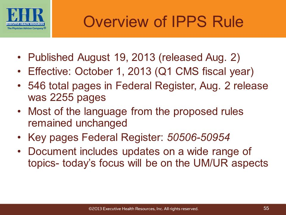 Overview of IPPS Rule Published August 19, 2013 (released Aug. 2)