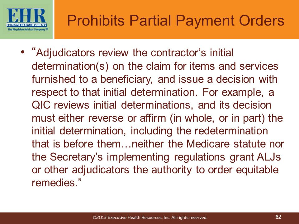 Prohibits Partial Payment Orders