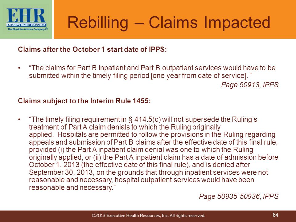 Rebilling – Claims Impacted