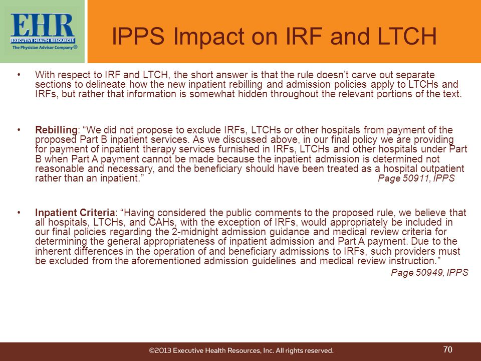 IPPS Impact on IRF and LTCH