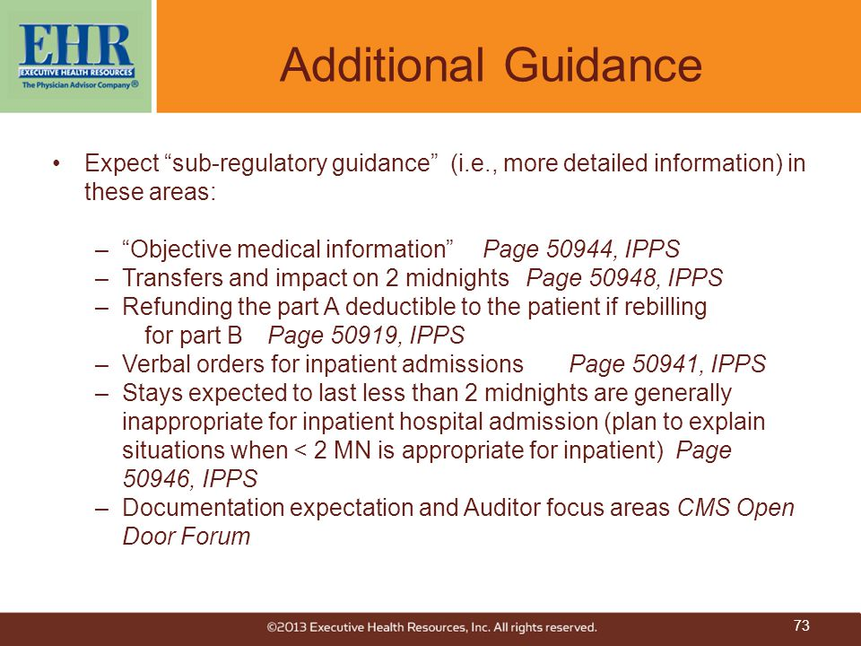 Additional Guidance Expect sub-regulatory guidance (i.e., more detailed information) in these areas: