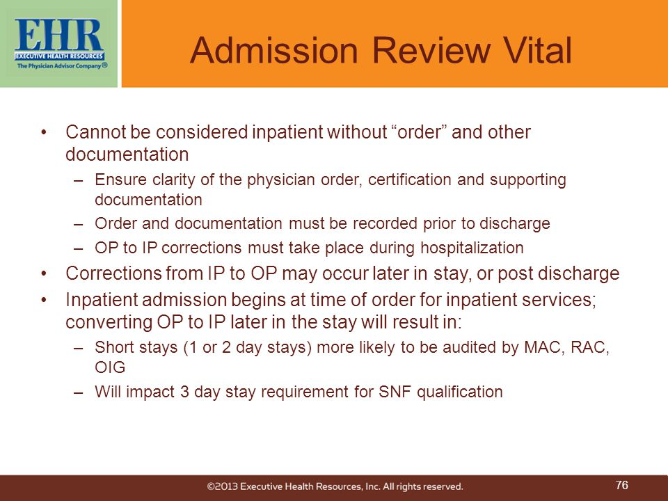 Admission Review Vital