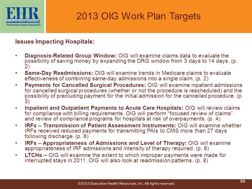 2013 OIG Work Plan Targets Issues Impacting Hospitals: