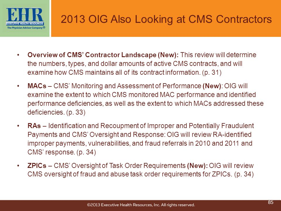 2013 OIG Also Looking at CMS Contractors