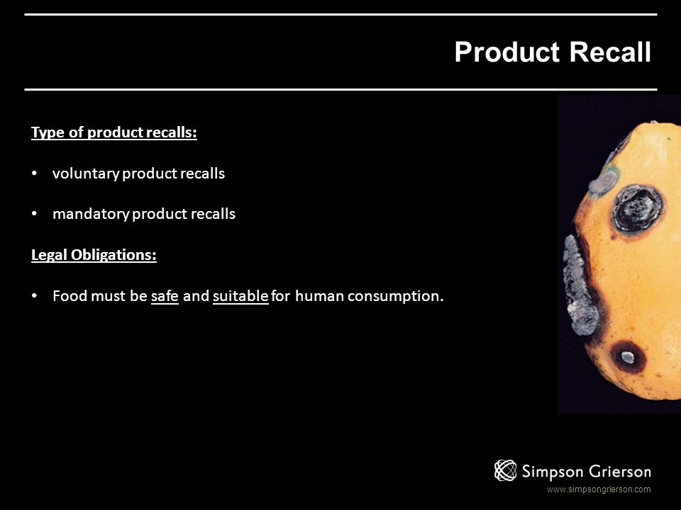 Product Recall Type of product recalls: voluntary product recalls