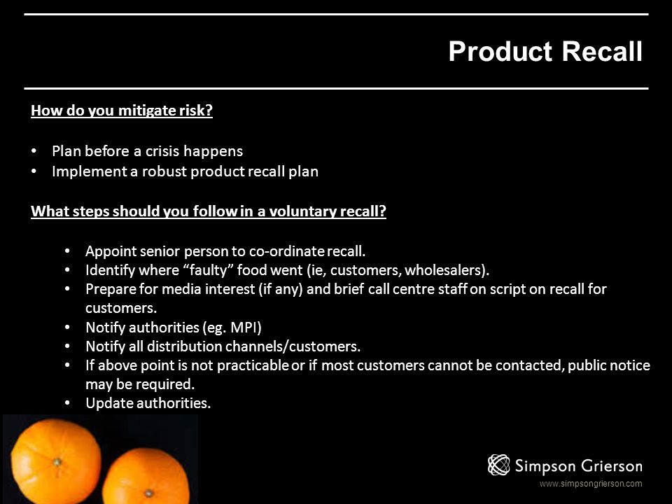 Product Recall How do you mitigate risk Plan before a crisis happens