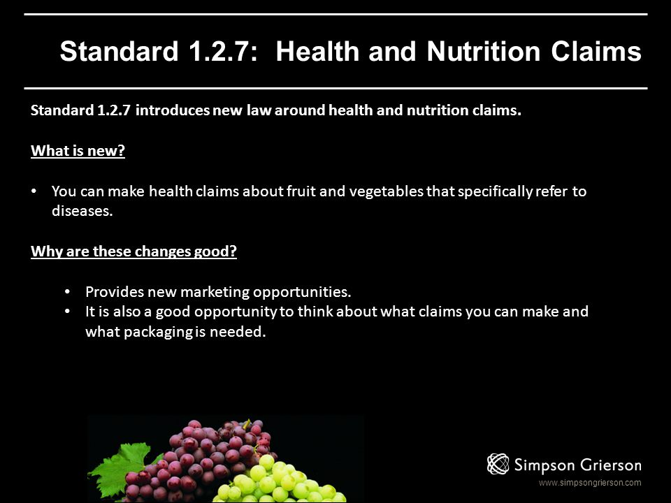Standard 1.2.7: Health and Nutrition Claims