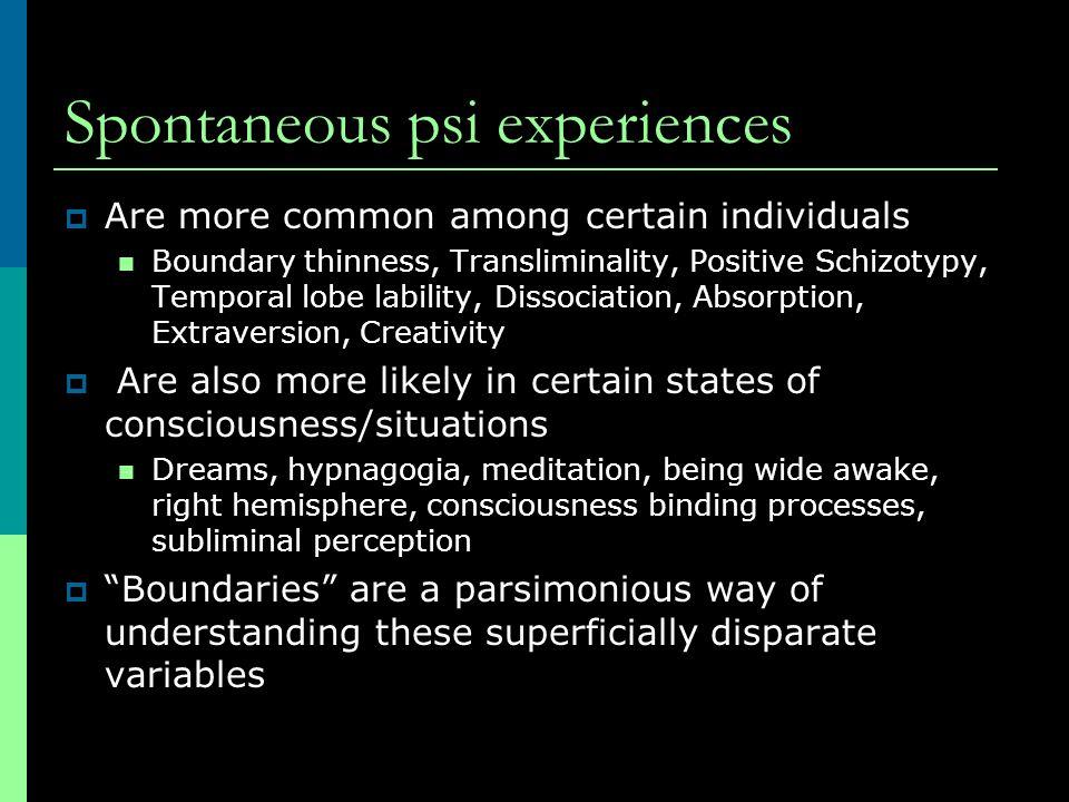 Spontaneous psi experiences
