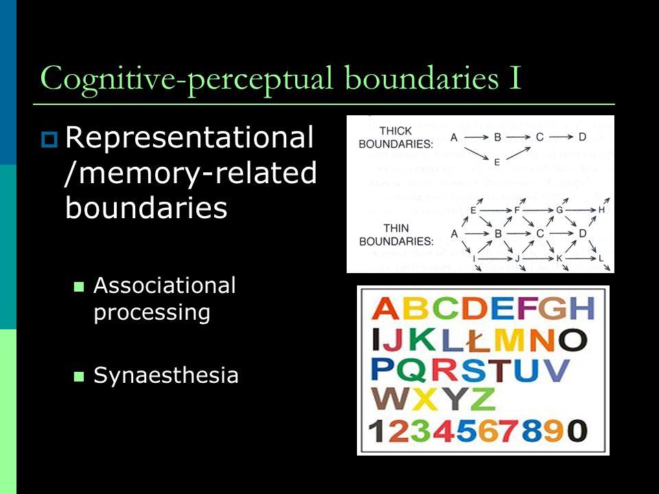 Cognitive-perceptual boundaries I