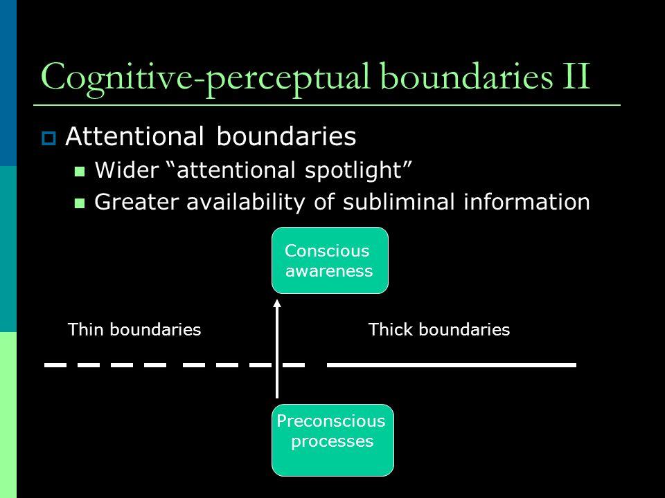 Cognitive-perceptual boundaries II