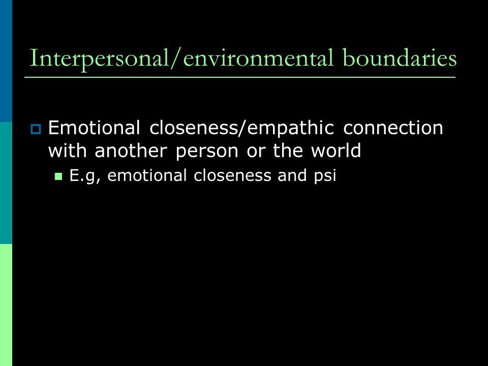 Interpersonal/environmental boundaries