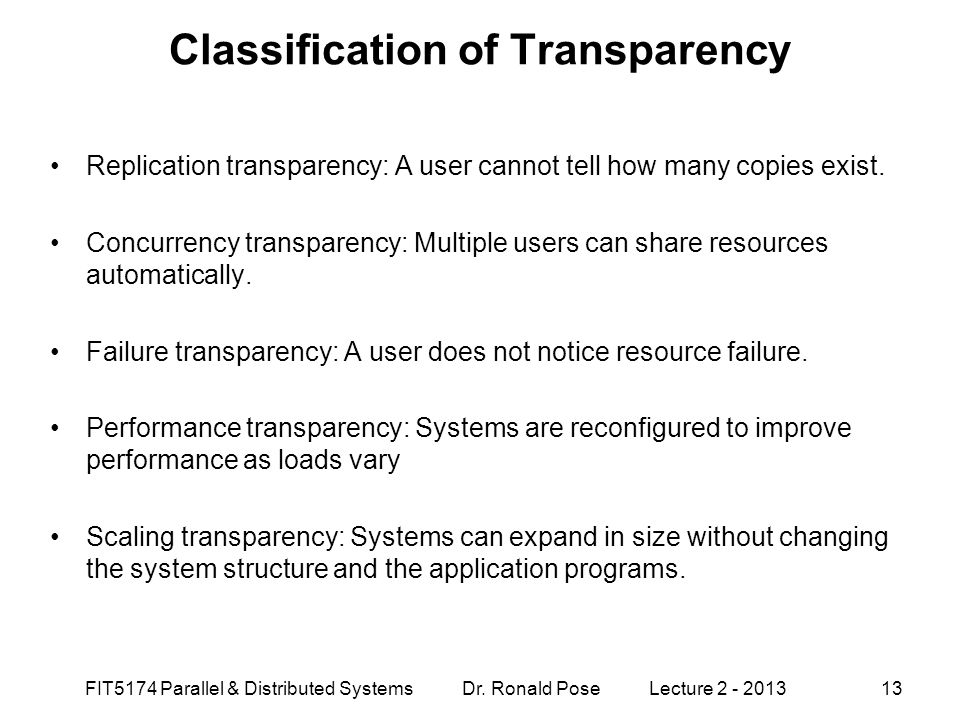 Classification of Transparency