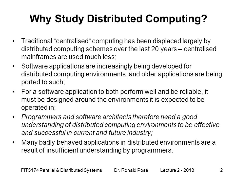 Why Study Distributed Computing