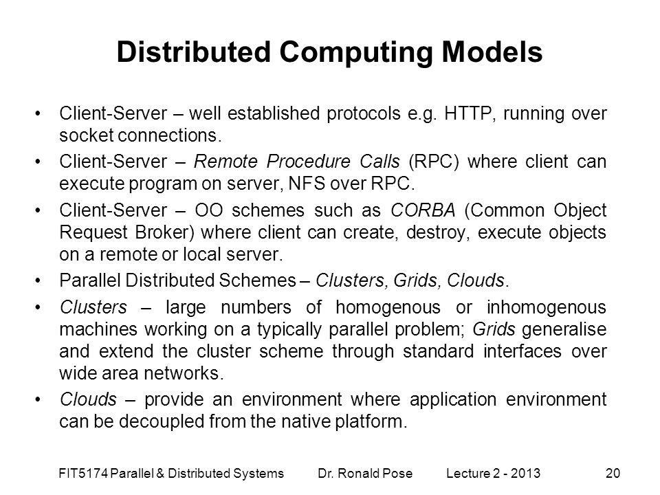 Distributed Computing Models