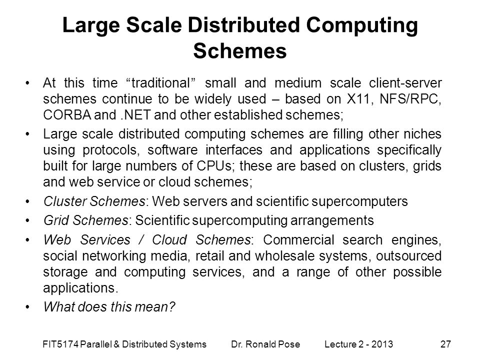 Large Scale Distributed Computing Schemes