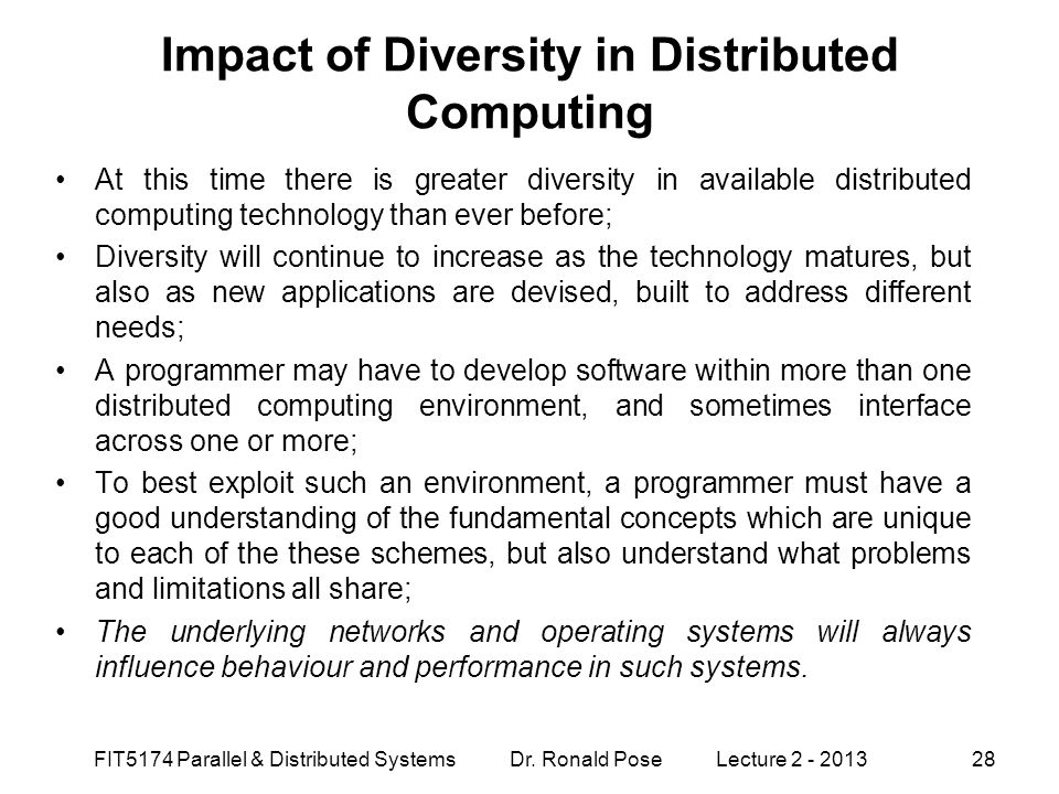 Impact of Diversity in Distributed Computing