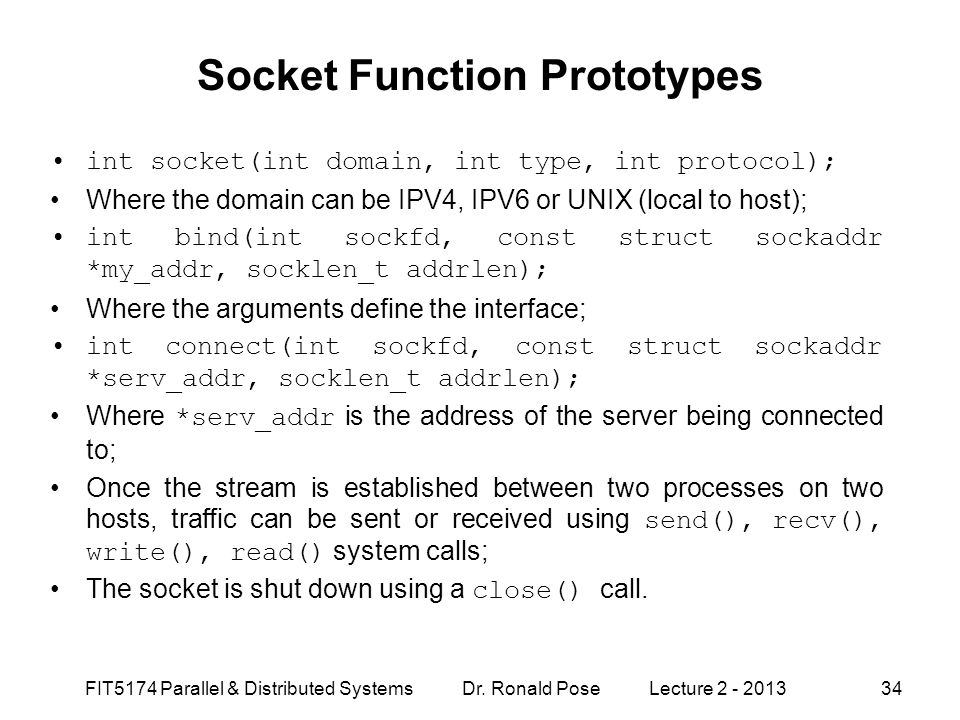 Socket Function Prototypes