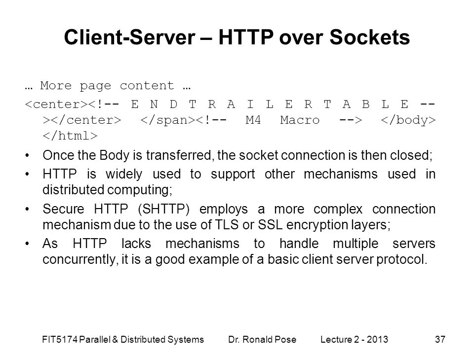 Client-Server – HTTP over Sockets