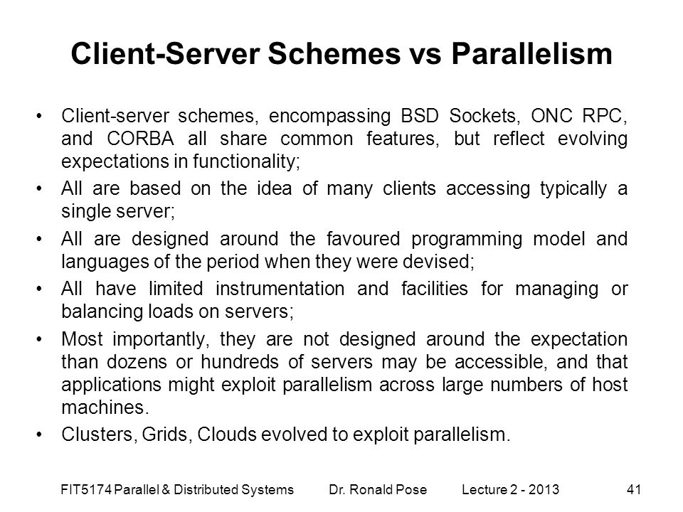 Client-Server Schemes vs Parallelism