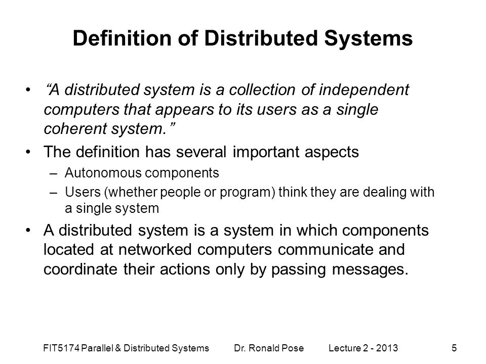 Definition of Distributed Systems