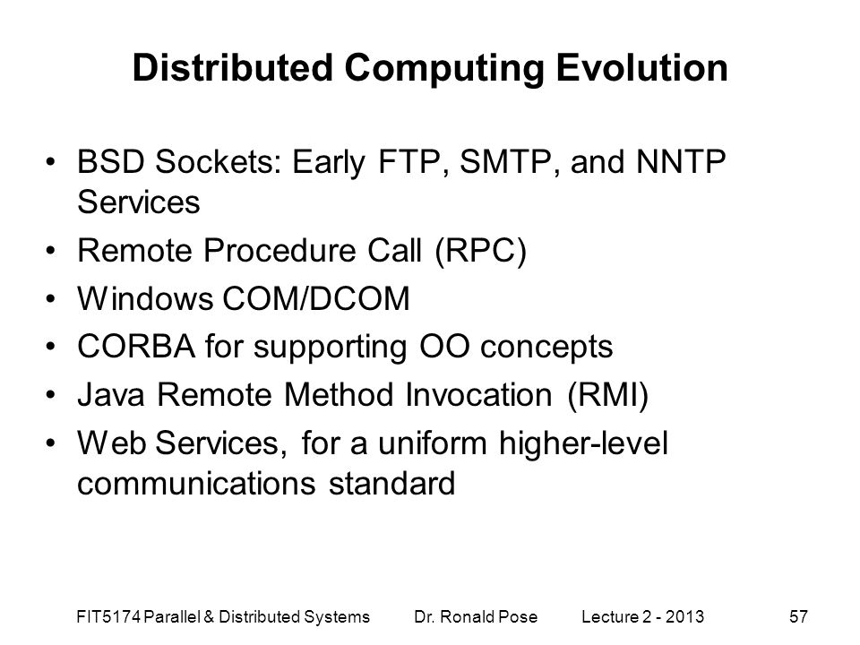 Distributed Computing Evolution