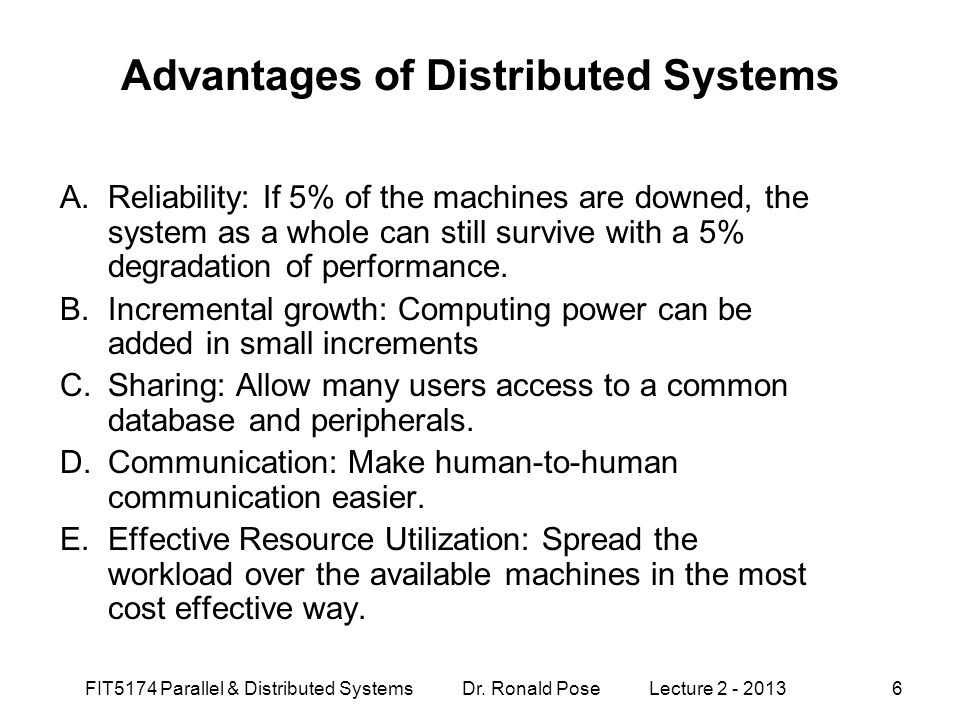 Advantages of Distributed Systems