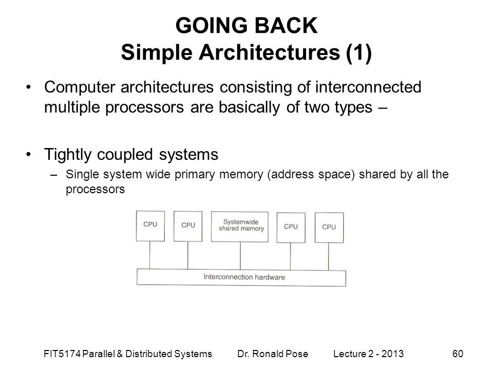 GOING BACK Simple Architectures (1)