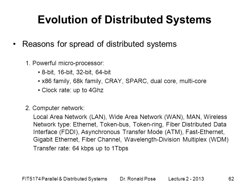 Evolution of Distributed Systems