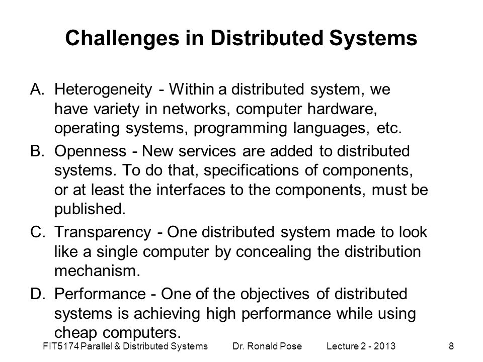 Challenges in Distributed Systems