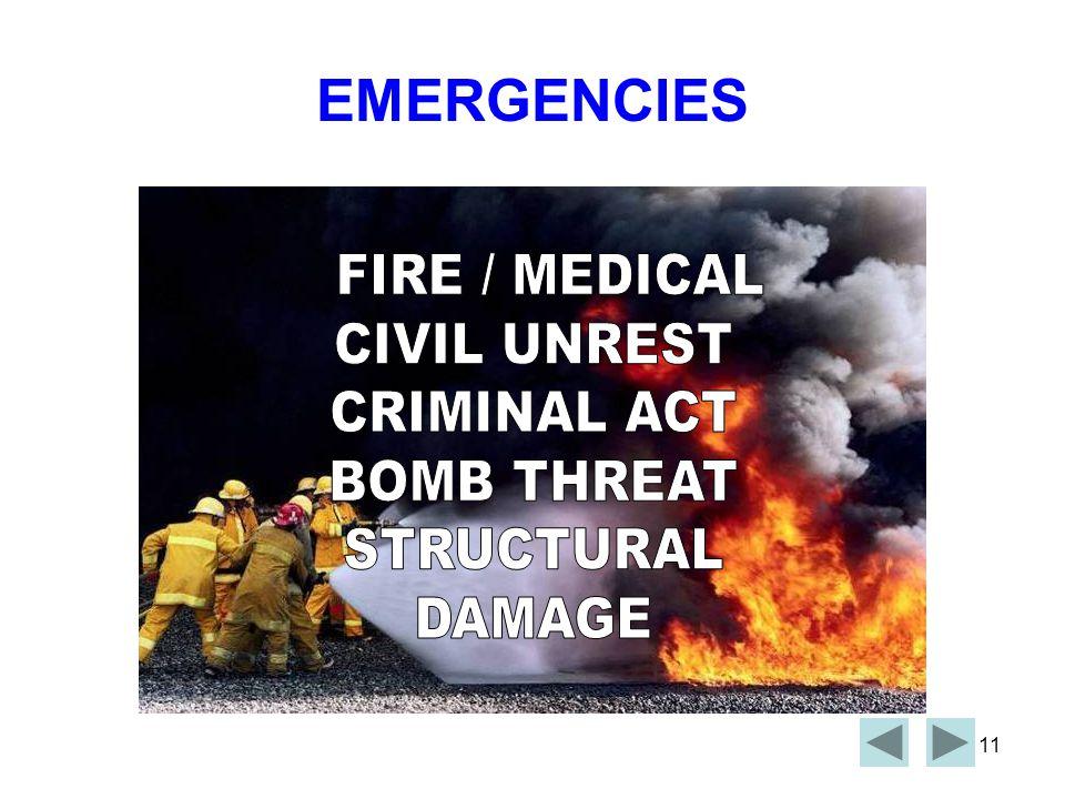 EMERGENCIES FIRE / MEDICAL CIVIL UNREST CRIMINAL ACT BOMB THREAT